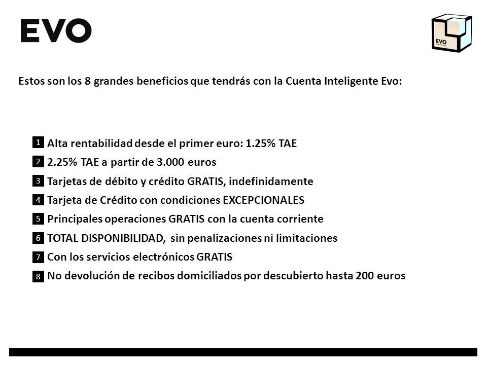 Alta rentabilidad desde el primer euro: 1.25% TAE 2.25% TAE a partir de 3.000 euros Tarjetas de débito y crédito GRATIS, indefinidamente Tarjeta de Cr
