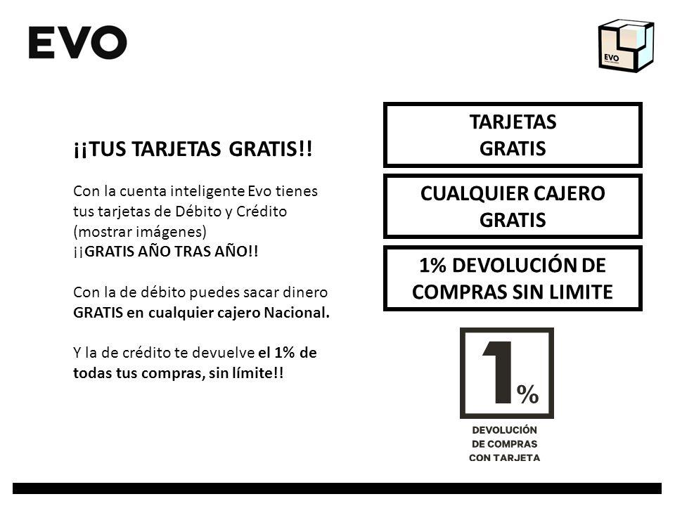 TARJETAS GRATIS 1% DEVOLUCIÓN DE COMPRAS SIN LIMITE CUALQUIER CAJERO GRATIS ¡¡TUS TARJETAS GRATIS!! Con la cuenta inteligente Evo tienes tus tarjetas