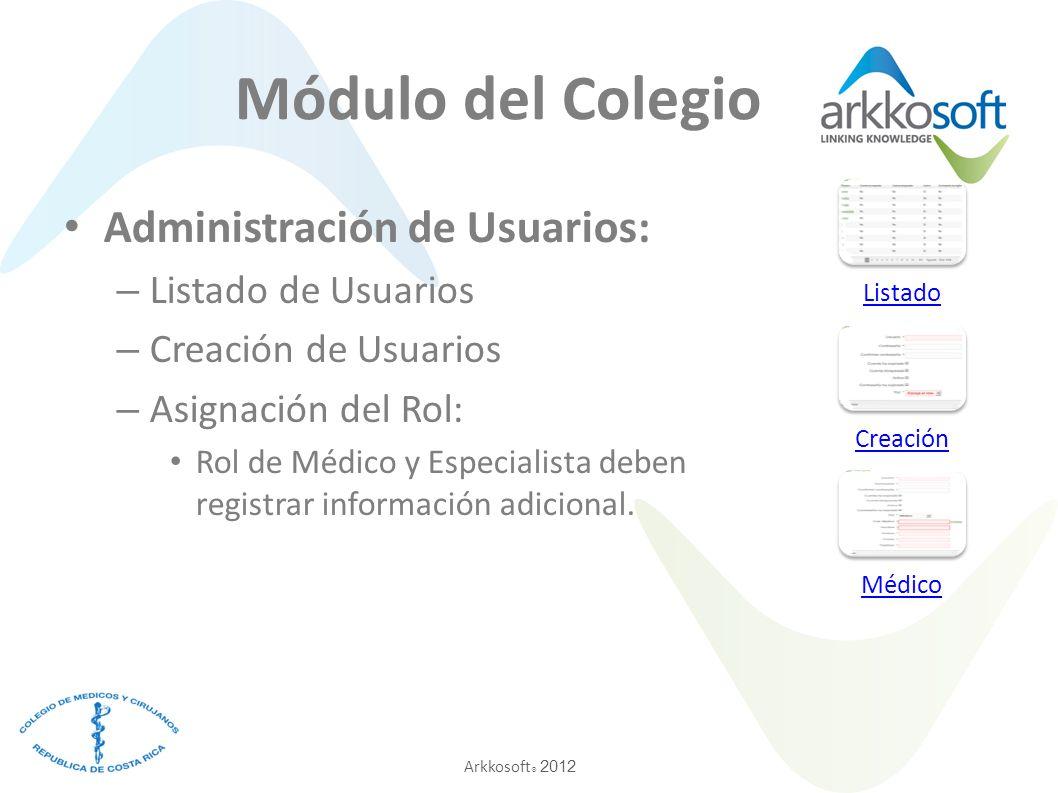 Arkkosoft ® 2012 Módulo del Colegio Administración de Usuarios: – Listado de Usuarios – Creación de Usuarios – Asignación del Rol: Rol de Médico y Esp