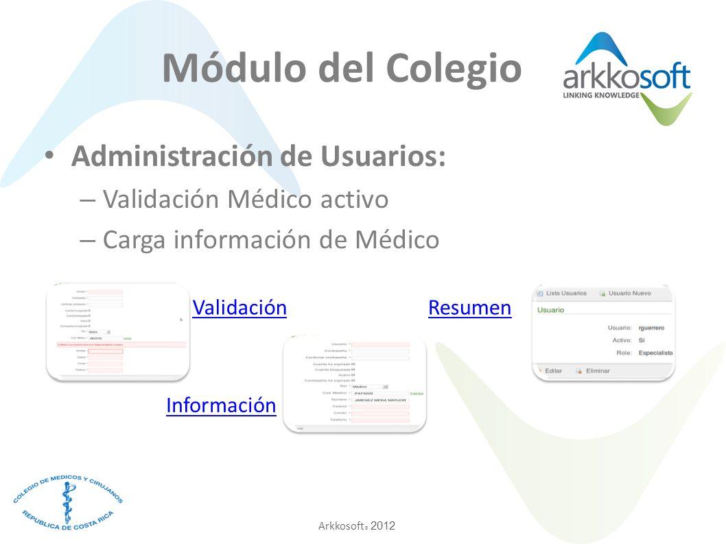 Arkkosoft ® 2012 Administración de Usuarios: – Validación Médico activo – Carga información de Médico Validación Información Resumen Módulo del Colegi