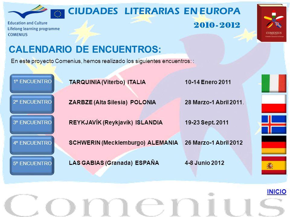 CALENDARIO DE ENCUENTROS: En este proyecto Comenius, hemos realizado los siguientes encuentros: : 1ºENCUENTRO TARQUINIA (Viterbo) ITALIA10-14 Enero 2011 2ºENCUENTROZARBZE (Alta Silesia) POLONIA28 Marzo-1 Abril 2011.