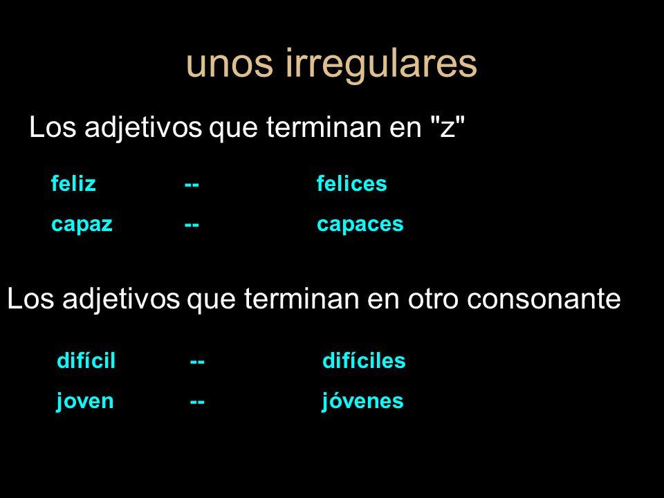 la posición de los adjetivos los adjetivos que describen siguen el nombre que modifican los adjetivos que limitan (numbers, possessives and demonstratives) preceden el nombre que modifican