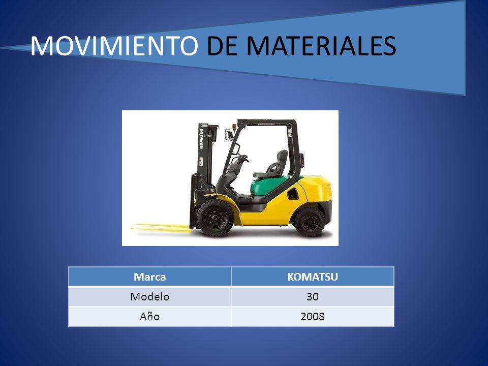 MOVIMIENTO DE MATERIALES MarcaKOMATSU Modelo30 Año2008