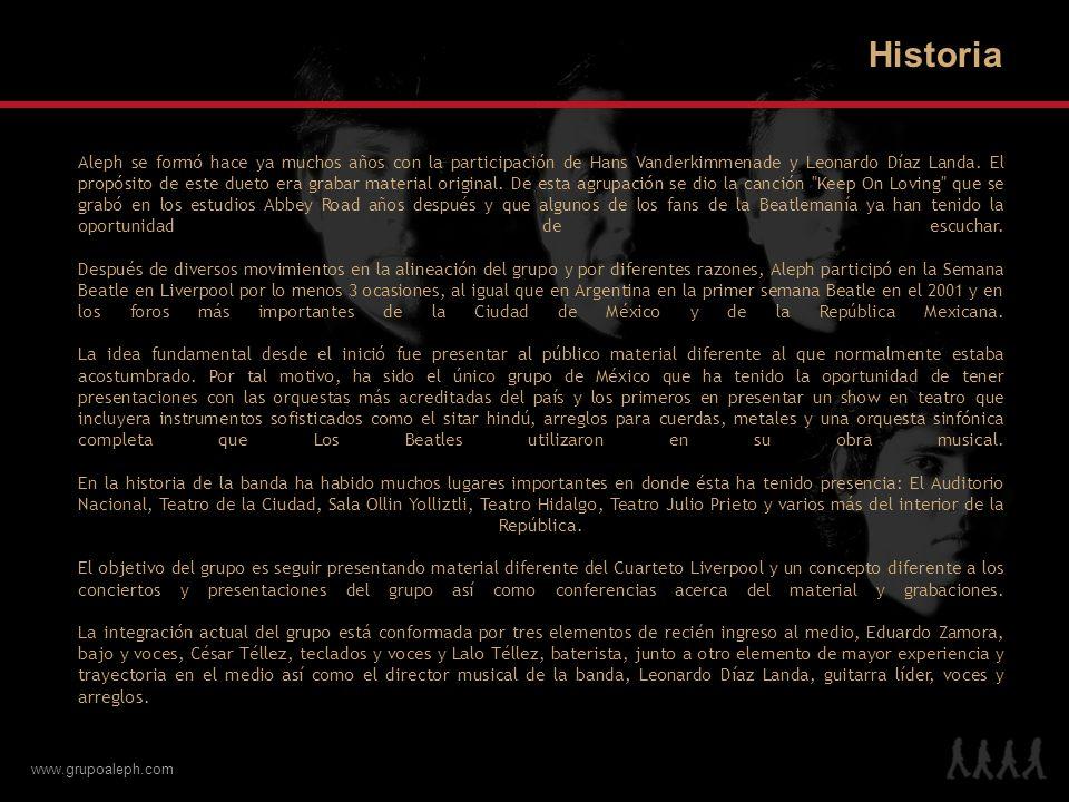 www.grupoaleph.com Aleph se formó hace ya muchos años con la participación de Hans Vanderkimmenade y Leonardo Díaz Landa. El propósito de este dueto e