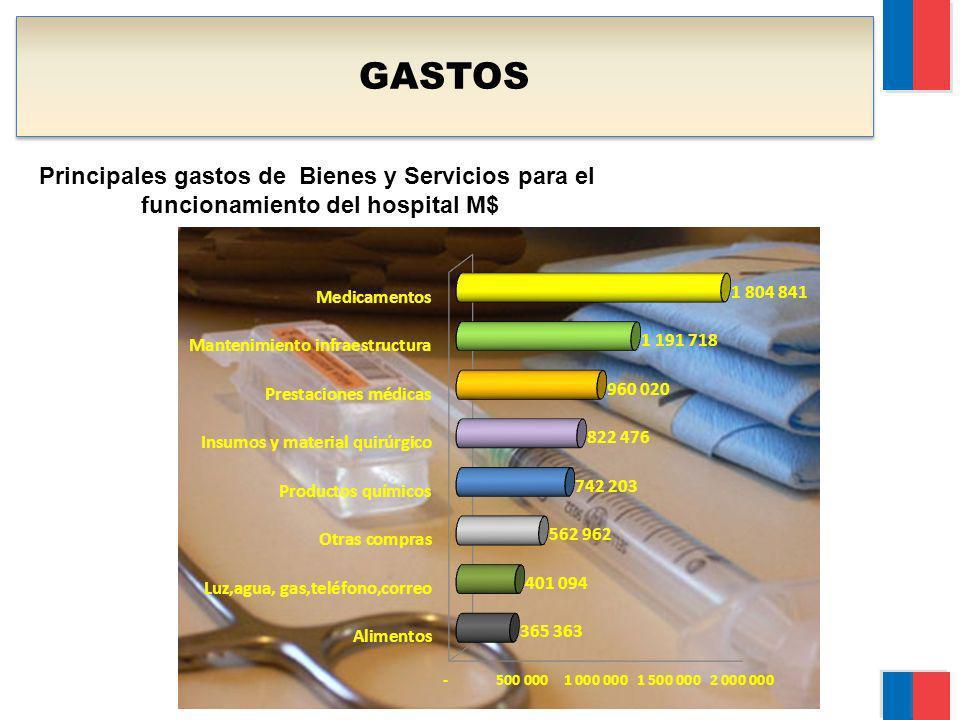 GASTOS Principales gastos de Bienes y Servicios para el funcionamiento del hospital M$