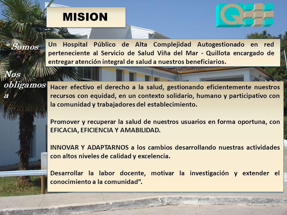 MISION Un Hospital Público de Alta Complejidad Autogestionado en red perteneciente al Servicio de Salud Viña del Mar - Quillota encargado de entregar
