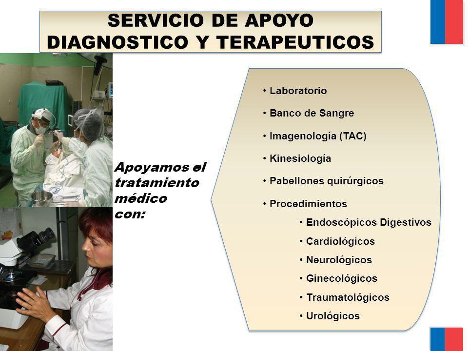 SERVICIO DE APOYO DIAGNOSTICO Y TERAPEUTICOS Laboratorio Banco de Sangre Imagenología (TAC) Kinesiología Pabellones quirúrgicos Procedimientos Endoscó
