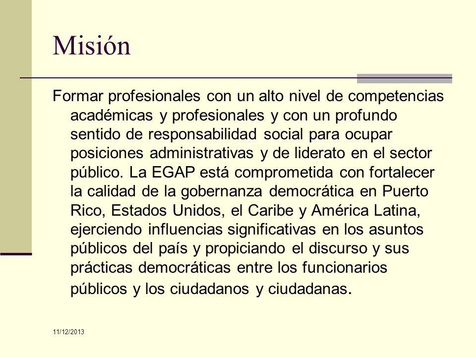 Misión Formar profesionales con un alto nivel de competencias académicas y profesionales y con un profundo sentido de responsabilidad social para ocup