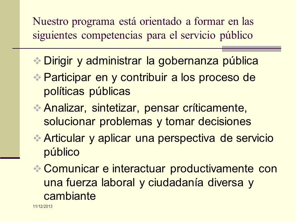 Nuestro programa está orientado a formar en las siguientes competencias para el servicio público Dirigir y administrar la gobernanza pública Participa