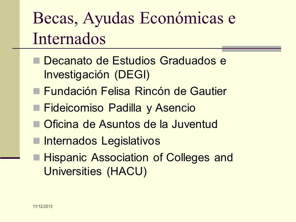 Becas, Ayudas Económicas e Internados Decanato de Estudios Graduados e Investigación (DEGI) Fundación Felisa Rincón de Gautier Fideicomiso Padilla y A