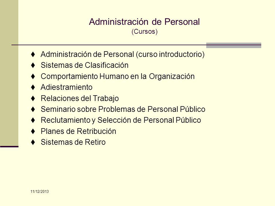 Administración de Personal (Cursos) Administración de Personal (curso introductorio) Sistemas de Clasificación Comportamiento Humano en la Organizació