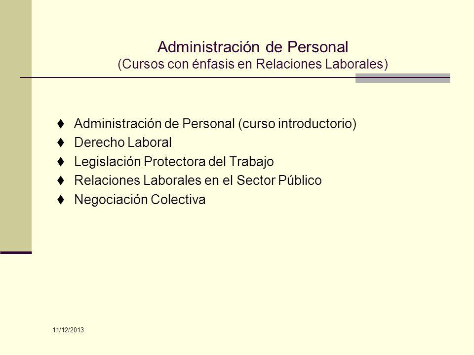 Administración de Personal (curso introductorio) Derecho Laboral Legislación Protectora del Trabajo Relaciones Laborales en el Sector Público Negociac