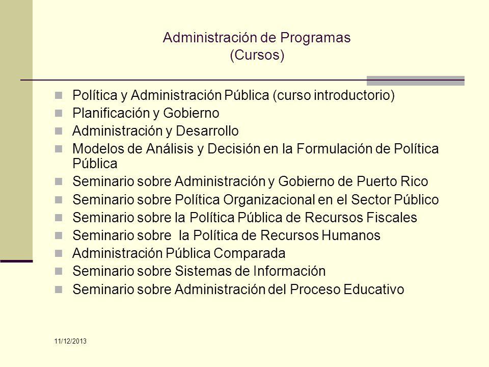 Administración de Programas (Cursos) Política y Administración Pública (curso introductorio) Planificación y Gobierno Administración y Desarrollo Mode