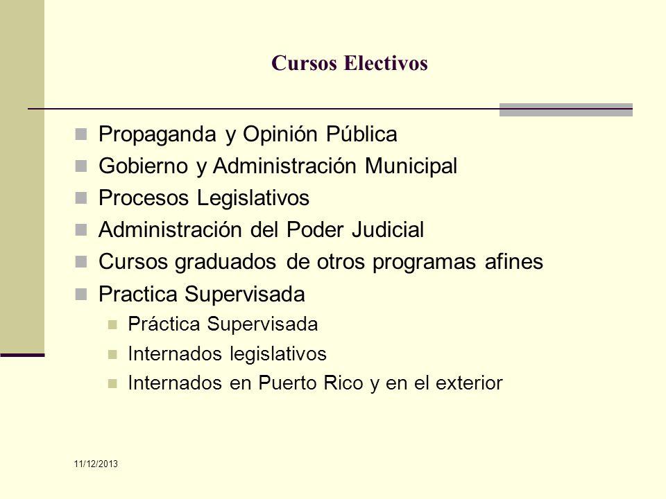 Cursos Electivos Propaganda y Opinión Pública Gobierno y Administración Municipal Procesos Legislativos Administración del Poder Judicial Cursos gradu