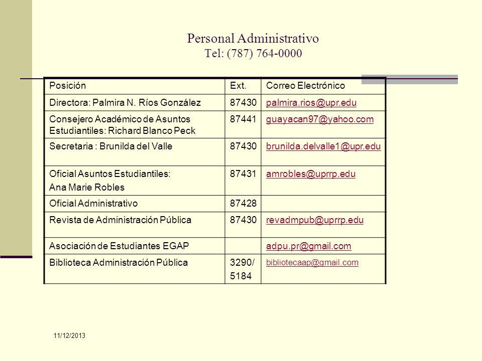 Personal Administrativo Tel: (787) 764-0000 PosiciónExt.Correo Electrónico Directora: Palmira N. Ríos González87430palmira.rios@upr.edu Consejero Acad