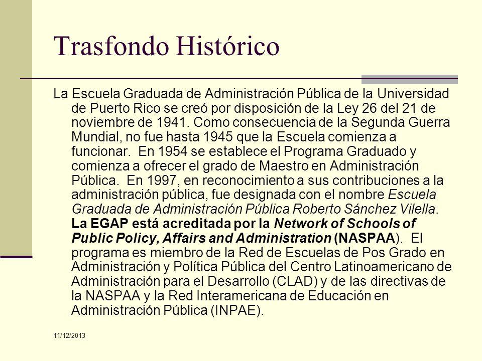 Trasfondo Histórico La Escuela Graduada de Administración Pública de la Universidad de Puerto Rico se creó por disposición de la Ley 26 del 21 de novi