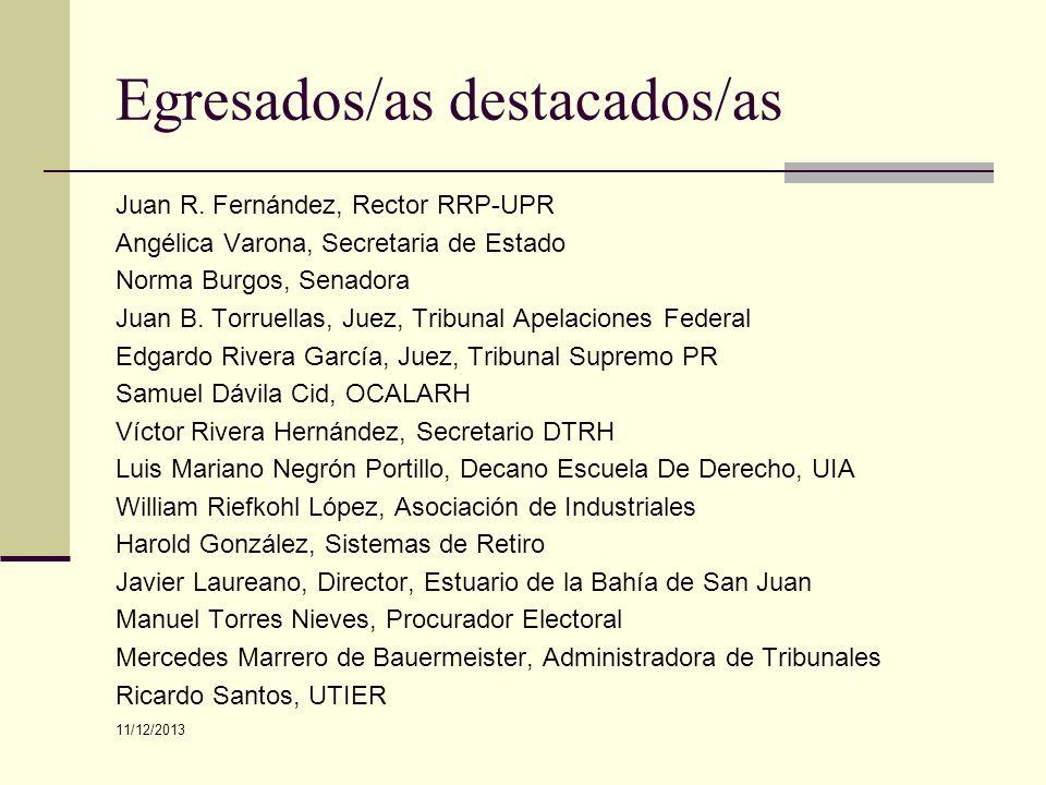 Egresados/as destacados/as Juan R. Fernández, Rector RRP-UPR Angélica Varona, Secretaria de Estado Norma Burgos, Senadora Juan B. Torruellas, Juez, Tr