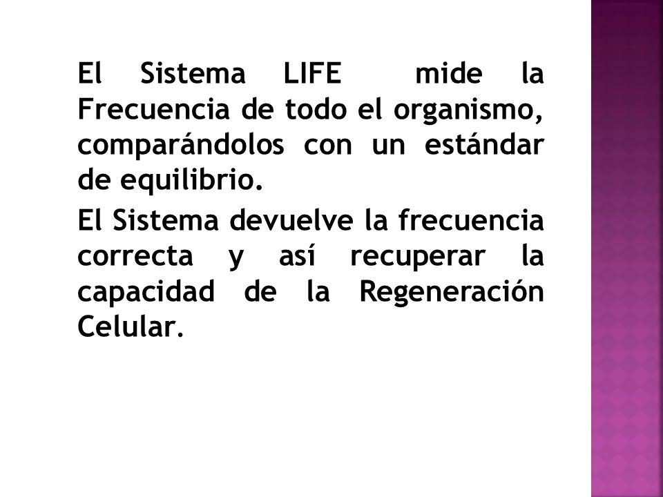 El Sistema LIFE mide la Frecuencia de todo el organismo, comparándolos con un estándar de equilibrio. El Sistema devuelve la frecuencia correcta y así