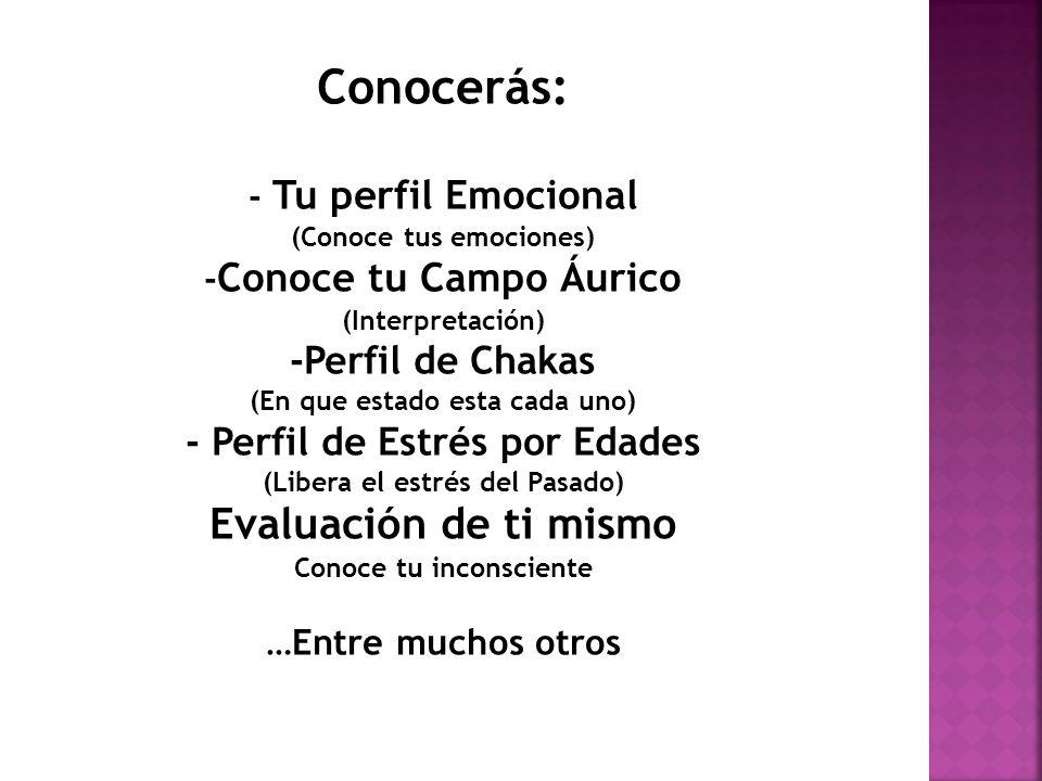 Conocerás: - Tu perfil Emocional (Conoce tus emociones) - Conoce tu Campo Áurico (Interpretación) -Perfil de Chakas (En que estado esta cada uno) - Pe