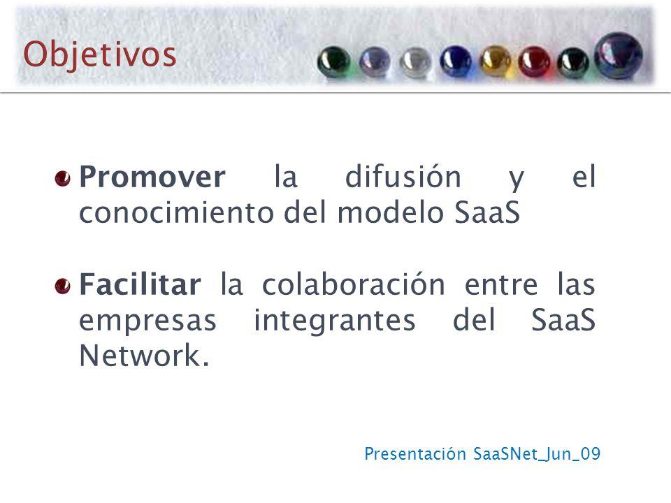 Presentación SaaSNet_Jun_09 Promover la difusión y el conocimiento del modelo SaaS Facilitar la colaboración entre las empresas integrantes del SaaS Network.