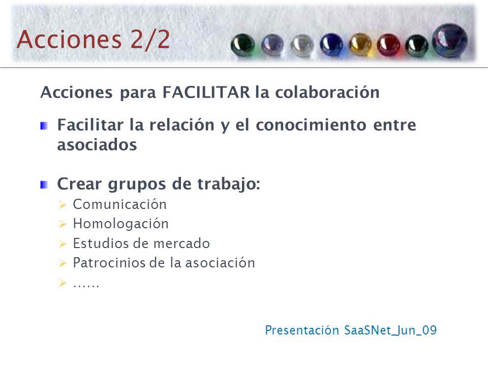 Presentación SaaSNet_Jun_09 Acciones para FACILITAR la colaboración Facilitar la relación y el conocimiento entre asociados Crear grupos de trabajo: Comunicación Homologación Estudios de mercado Patrocinios de la asociación ……