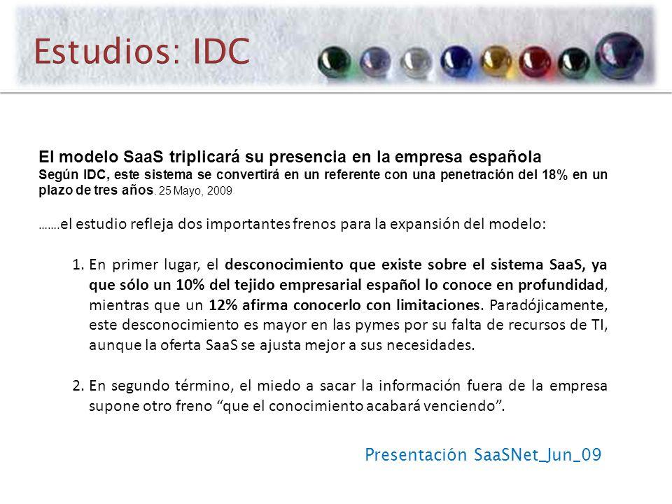 Presentación SaaSNet_Jun_09 El modelo SaaS triplicará su presencia en la empresa española Según IDC, este sistema se convertirá en un referente con una penetración del 18% en un plazo de tres años.