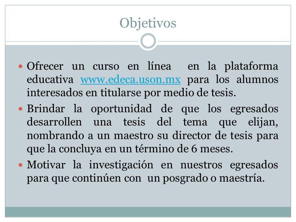 Objetivos Ofrecer un curso en línea en la plataforma educativa www.edeca.uson.mx para los alumnos interesados en titularse por medio de tesis.www.edec