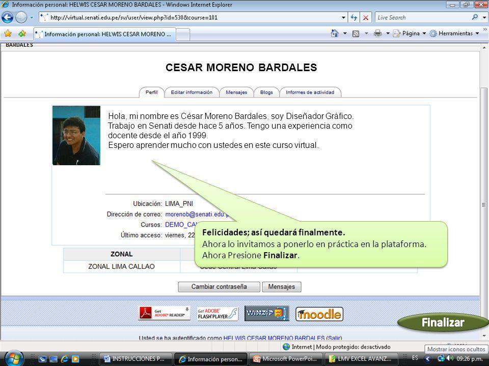 Hola, mi nombre es César Moreno Bardales, soy Diseñador Gráfico. Trabajo en Senati desde hace 5 años. Tengo una experiencia como docente desde el año