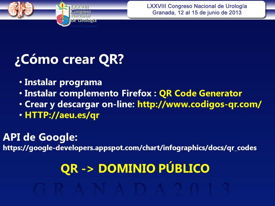 ¿Cómo crear QR? Instalar programa Instalar complemento Firefox : QR Code Generator Crear y descargar on-line: http://www.codigos-qr.com/ HTTP://aeu.es
