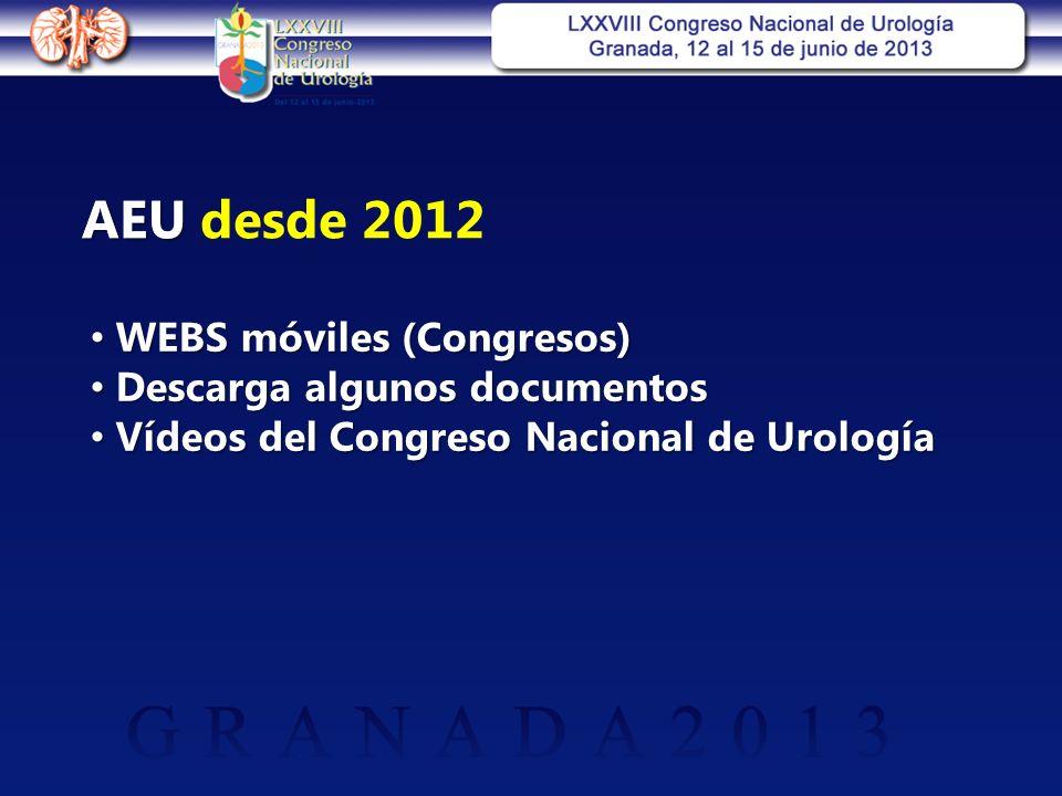 WEBS móviles (Congresos) WEBS móviles (Congresos) Descarga algunos documentos Descarga algunos documentos Vídeos del Congreso Nacional de Urología Vídeos del Congreso Nacional de Urología AEU desde 2012AEU