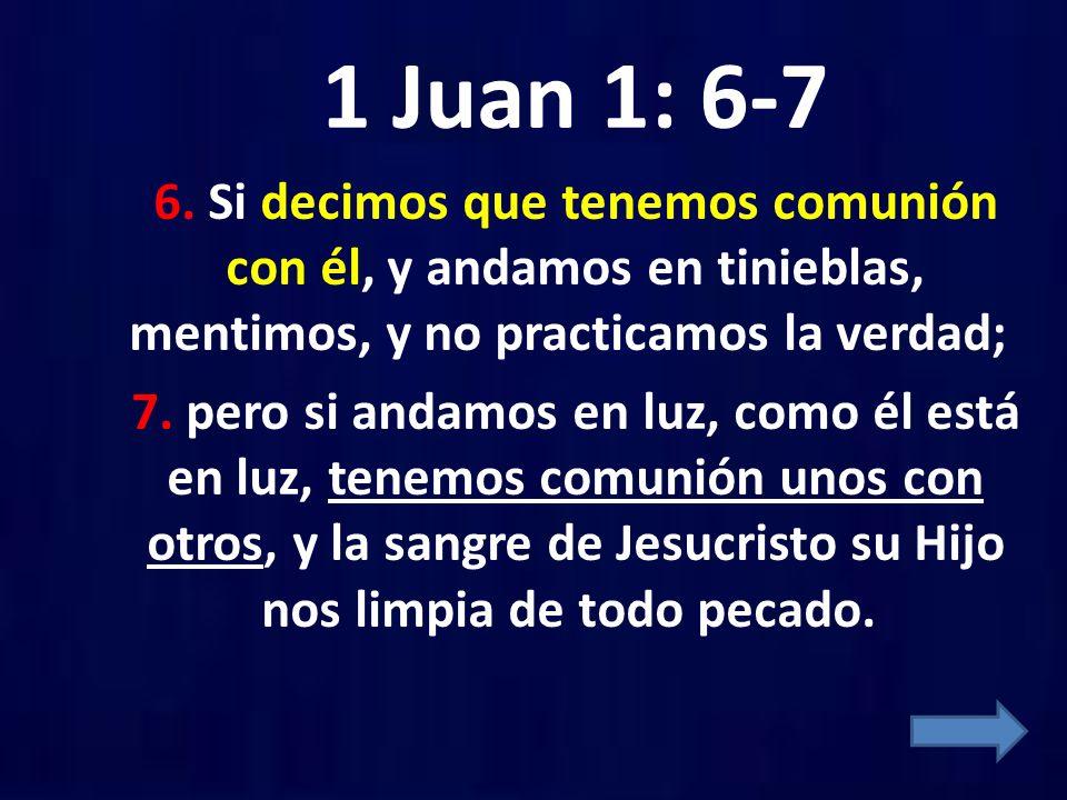 1 Juan 1: 6-7 6. Si decimos que tenemos comunión con él, y andamos en tinieblas, mentimos, y no practicamos la verdad; 7. pero si andamos en luz, como