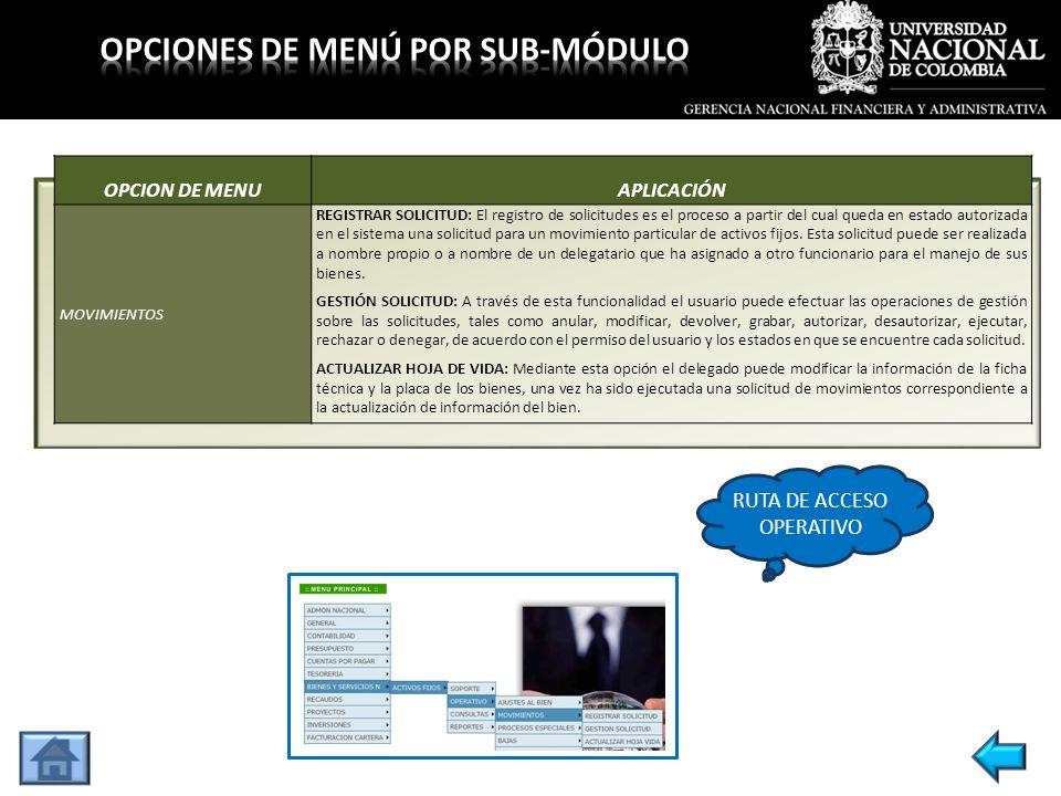 OPCION DE MENUAPLICACIÓN MOVIMIENTOS REGISTRAR SOLICITUD: El registro de solicitudes es el proceso a partir del cual queda en estado autorizada en el