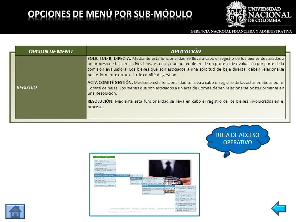 OPCION DE MENUAPLICACIÓN REGISTRO SOLICITUD B. DIRECTA: Mediante ésta funcionalidad se lleva a cabo el registro de los bienes destinados a un proceso