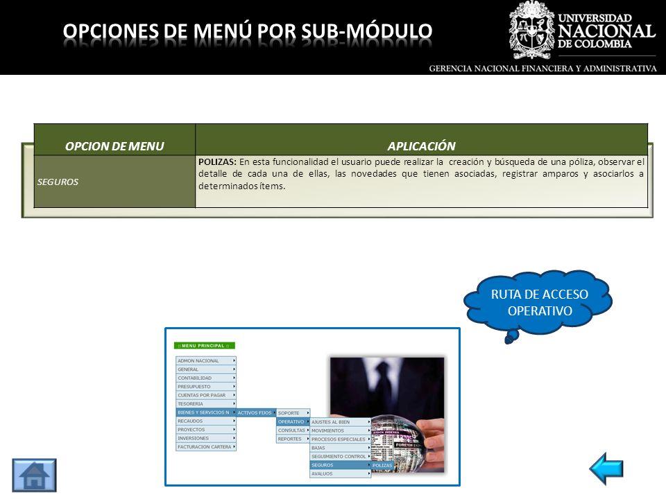 OPCION DE MENUAPLICACIÓN SEGUROS POLIZAS: En esta funcionalidad el usuario puede realizar la creación y búsqueda de una póliza, observar el detalle de