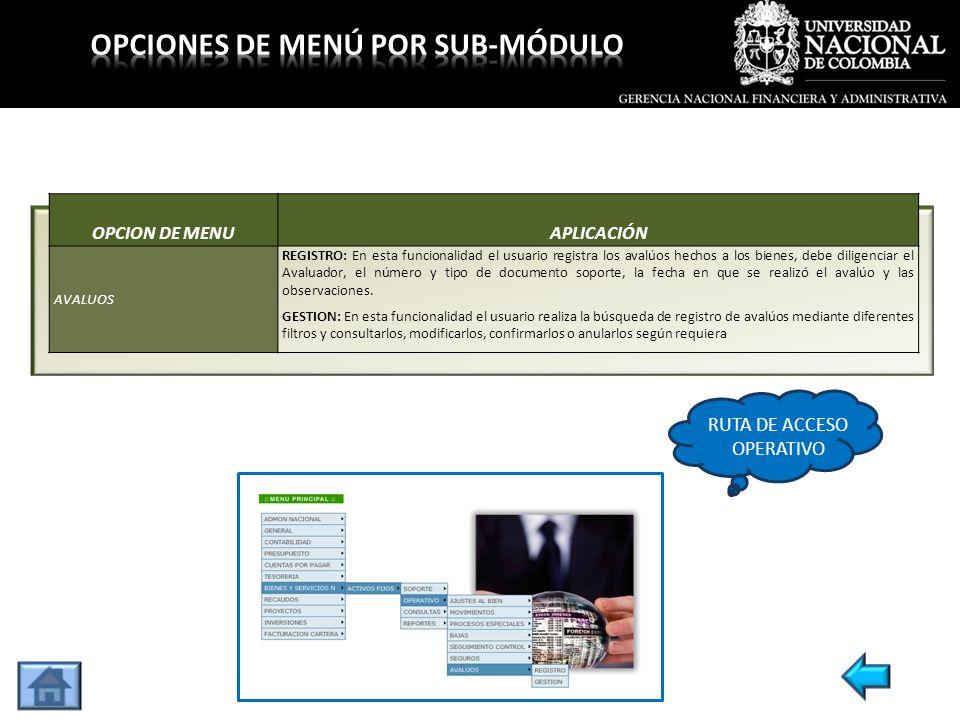 OPCION DE MENUAPLICACIÓN AVALUOS REGISTRO: En esta funcionalidad el usuario registra los avalúos hechos a los bienes, debe diligenciar el Avaluador, e