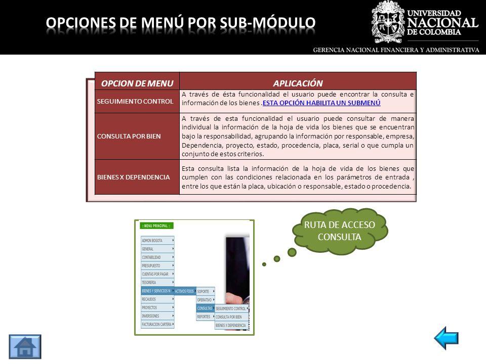 OPCION DE MENUAPLICACIÓN SEGUIMIENTO CONTROL A través de ésta funcionalidad el usuario puede encontrar la consulta e información de los bienes.ESTA OP