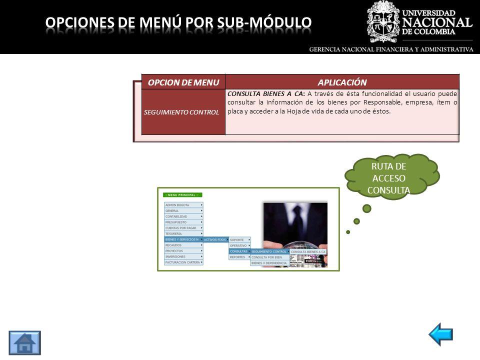 OPCION DE MENUAPLICACIÓN SEGUIMIENTO CONTROL CONSULTA BIENES A CA: A través de ésta funcionalidad el usuario puede consultar la información de los bie