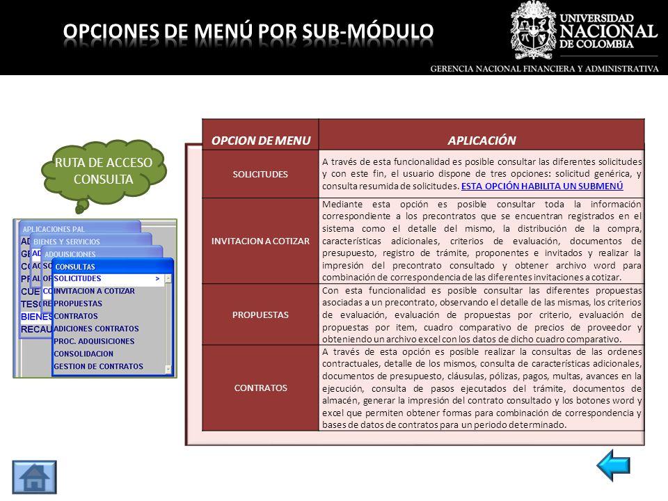 OPCION DE MENUAPLICACIÓN SOLICITUDES A través de esta funcionalidad es posible consultar las diferentes solicitudes y con este fin, el usuario dispone