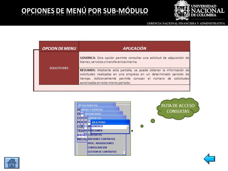 OPCION DE MENUAPLICACIÓN SOLICITUDES GENERICA: Esta opción permite consultar una solicitud de adquisición de bienes, servicios o transferencia interna