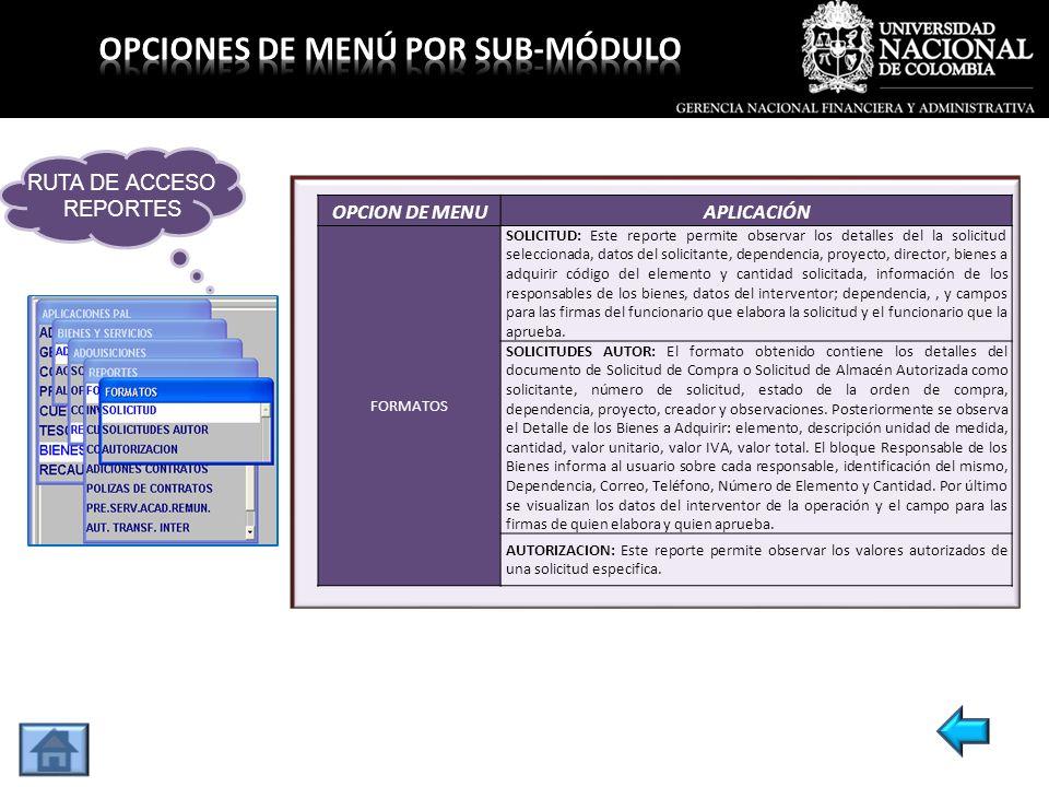 OPCION DE MENUAPLICACIÓN FORMATOS SOLICITUD: Este reporte permite observar los detalles del la solicitud seleccionada, datos del solicitante, dependen