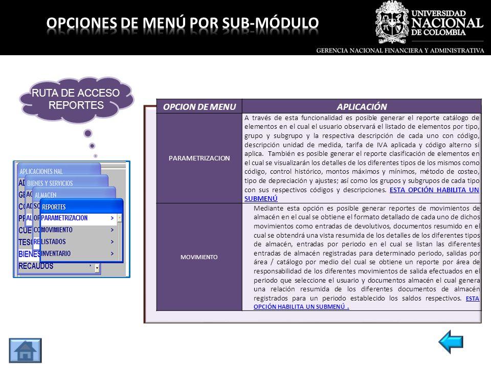 OPCION DE MENUAPLICACIÓN PARAMETRIZACION A través de esta funcionalidad es posible generar el reporte catálogo de elementos en el cual el usuario obse
