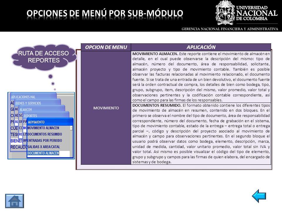 OPCION DE MENUAPLICACIÓN MOVIMIENTO MOVIMIENTO ALMACEN. Este reporte contiene el movimiento de almacén en detalle, en el cual puede observarse la desc