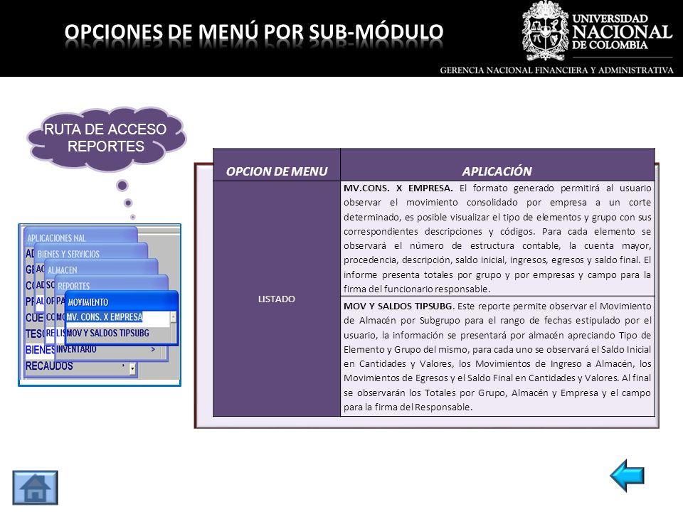OPCION DE MENUAPLICACIÓN LISTADO MV.CONS. X EMPRESA. El formato generado permitirá al usuario observar el movimiento consolidado por empresa a un cort