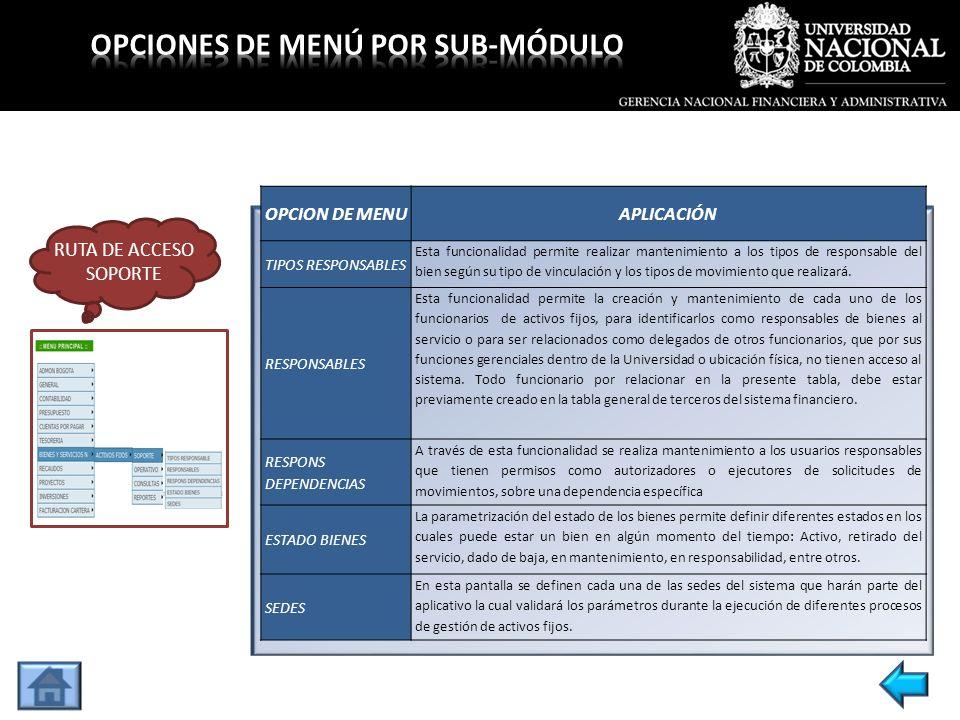 OPCION DE MENUAPLICACIÓN PARAMETRIZAC.