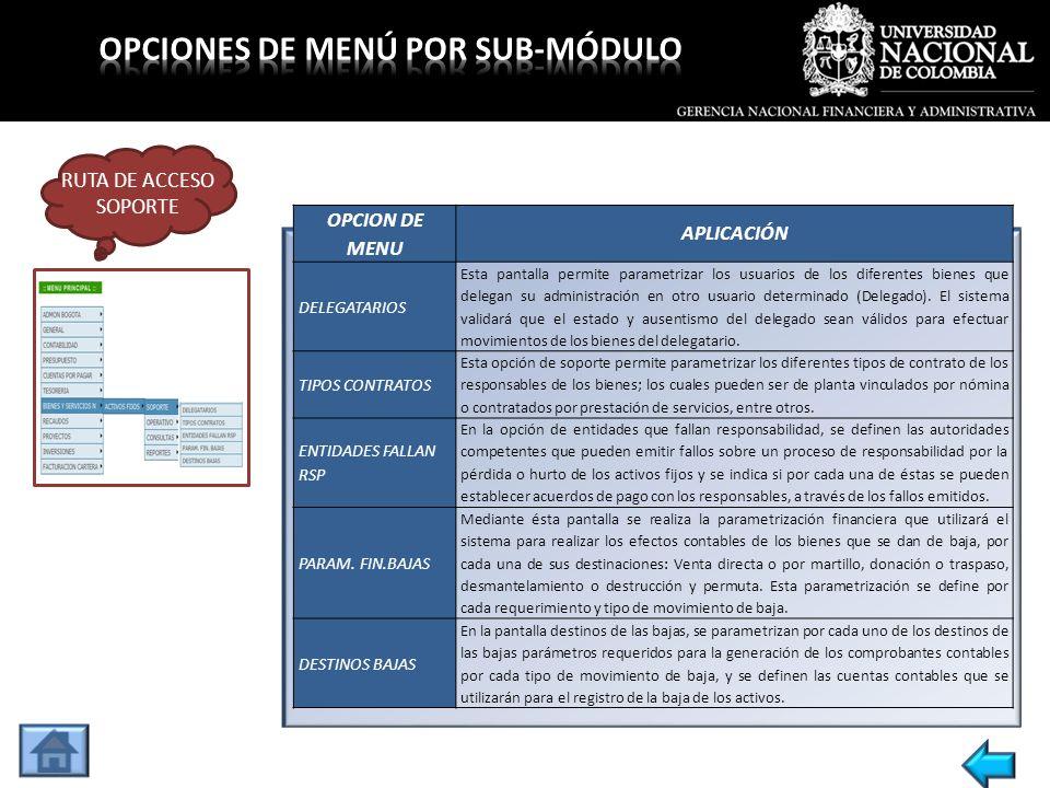 OPCION DE MENUAPLICACIÓN REGISTRO ACTA ENTREGA O.