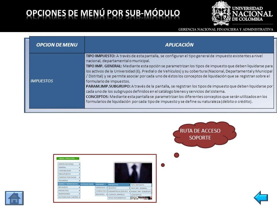 OPCION DE MENUAPLICACIÓN GESTIÓN SOLICITUD B.