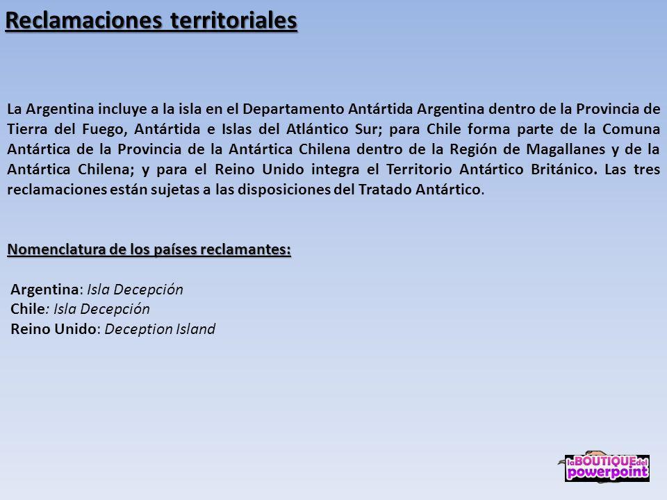La Argentina incluye a la isla en el Departamento Antártida Argentina dentro de la Provincia de Tierra del Fuego, Antártida e Islas del Atlántico Sur; para Chile forma parte de la Comuna Antártica de la Provincia de la Antártica Chilena dentro de la Región de Magallanes y de la Antártica Chilena; y para el Reino Unido integra el Territorio Antártico Británico.