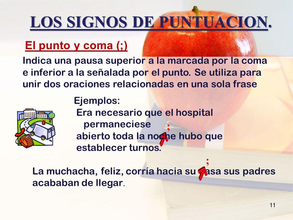 LOS SIGNOS DE PUNTUACION. 11 El punto y coma (;) ; Ejemplos: Era necesario que el hospital permaneciese abierto toda la noche hubo que establecer turn