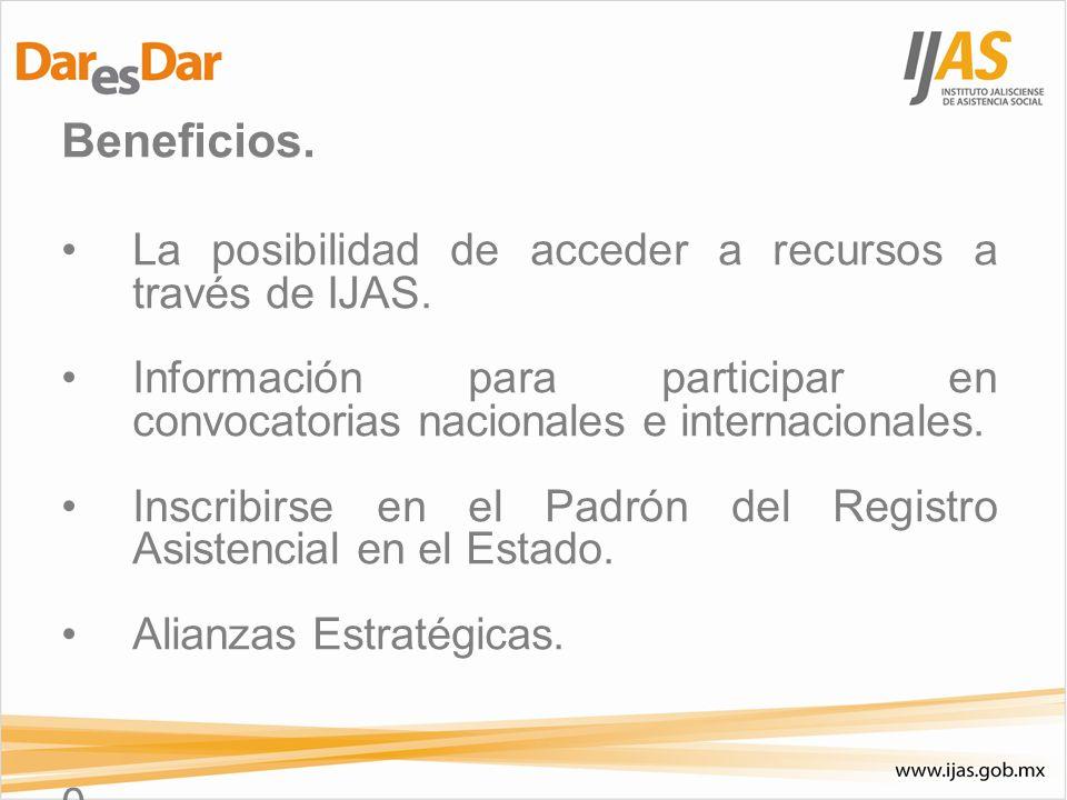 Beneficios. La posibilidad de acceder a recursos a través de IJAS. Información para participar en convocatorias nacionales e internacionales. Inscribi
