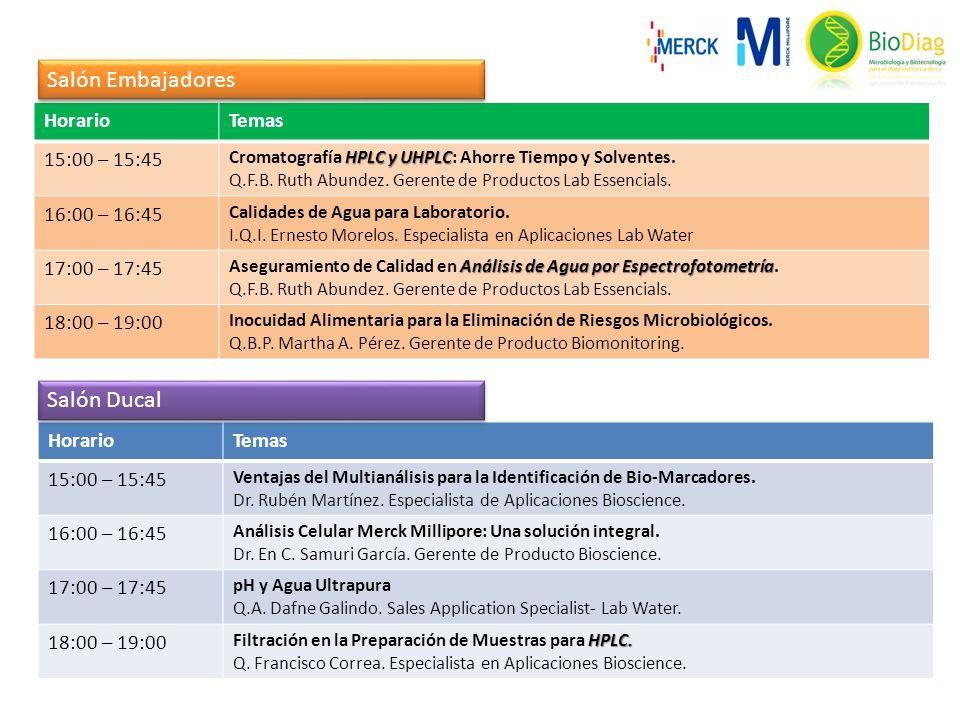 HorarioTemas 15:00 – 15:45 HPLC y UHPLC Cromatografía HPLC y UHPLC: Ahorre Tiempo y Solventes.